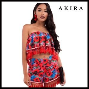 AKIRA FLORAL PRINT FRINGE CROP TOP & SHORTS SET